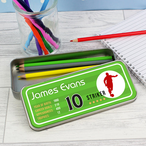 Personalised Football Pencil Tin with Colouring Pencils