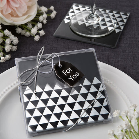 Geometric Coaster Wedding Favours