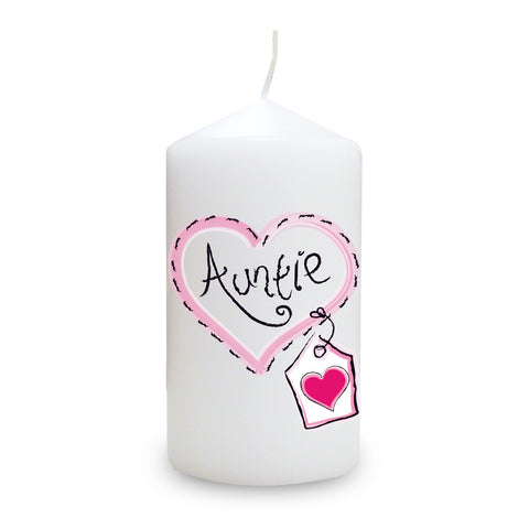 Auntie Heart Stitch Candle Gift