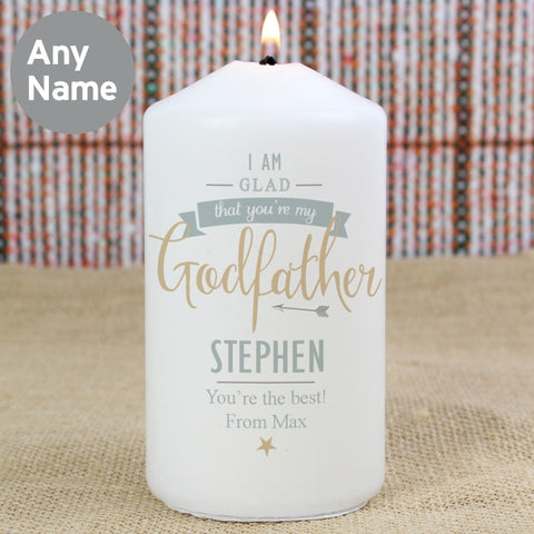 Personalised I Am Glad Godfather Candle