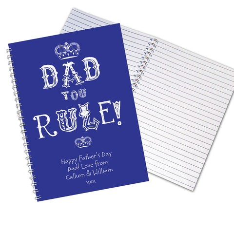 Personalised Dad You Rule Notebook Gift