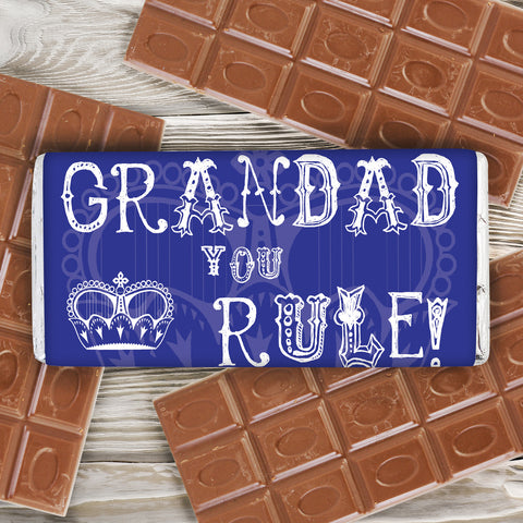 Personalised Grandad You Rule Chocolate Bar Gift