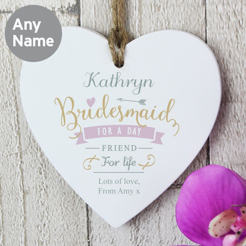 Personalised Bridesmaid Heart Decoration