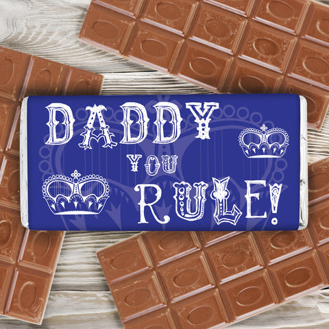 Personalised Daddy You Rule Chocolate Bar Present