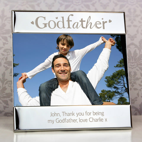Personalised Silver Godfather Square Photo Frame