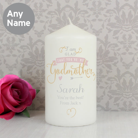 Personalised I Am Glad Godmother Candle