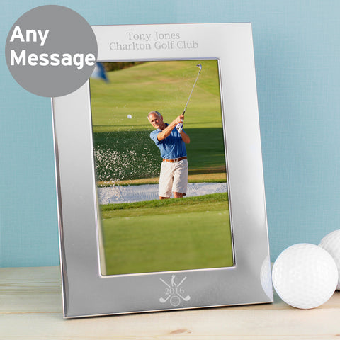Personalised Silver Golf Photo Frame Portrait