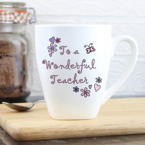 Personalised Flower and Butterflies Wonderful Teacher Latte Mug Gift