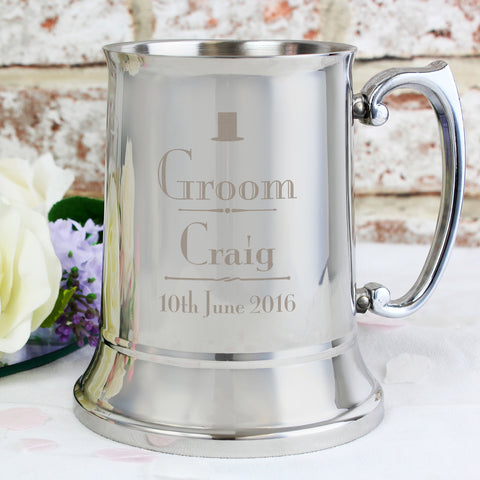 Personalised Decorative Wedding Groom Stainless Steel Tankard Gift