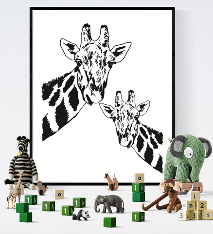 Giraffe Art Printable Black and White