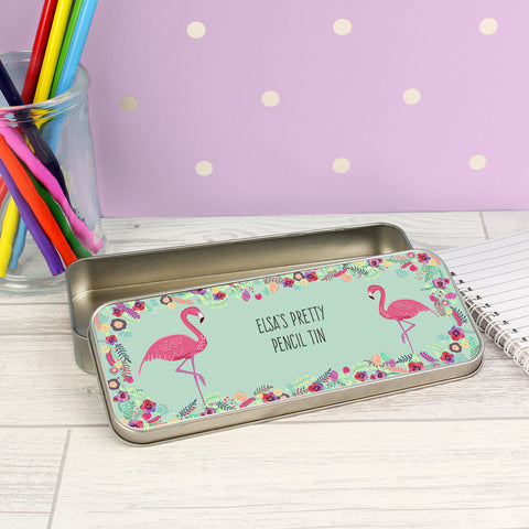 Personalised Flamingo Pencil Tin and Colouring Pencils