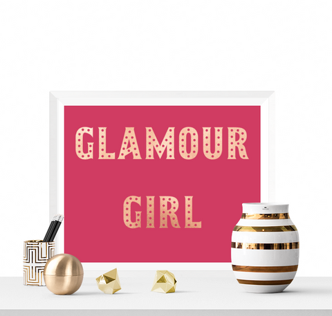 Glamour Girl Printable Pink and Rose Gold