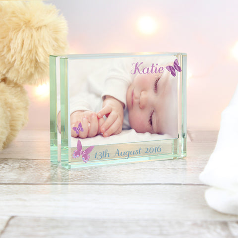 Personalised Butterfly Glass Photo Block