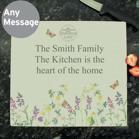 Personalised Country Diary Glass Chopping Board