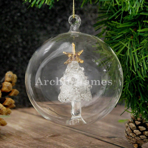 Personalised Glass Christmas Tree Bauble with Name