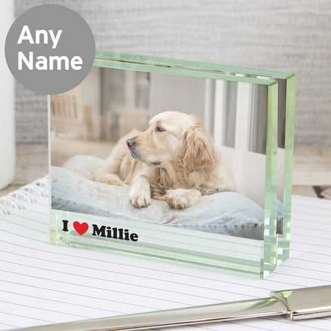 Personalised I Heart Glass Photo Block