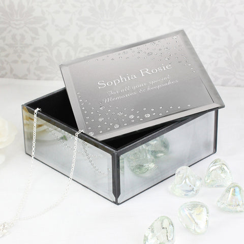 Personalised Diamante Mirrored Glass Trinket Box