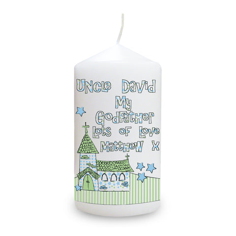 Personalised Whimsical Church Godfather Candle Present