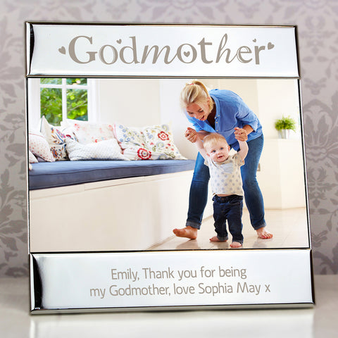Personalised Silver Godmother Square Photo Frame