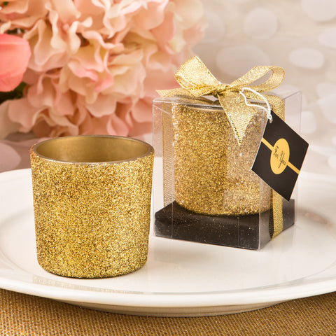 Gold Glitter Votive Candle Favours
