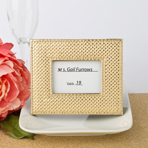 Gold Metallic Leatherette Photo Frame Place Card Holders