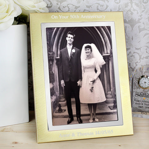 Personalised Brushed Gold Photo Frame