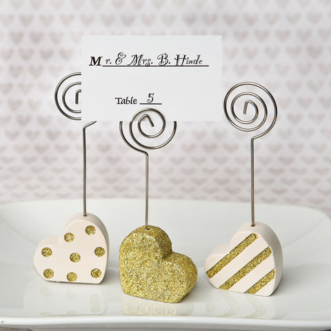 Heart Place Card Holders Gold and White 6PK