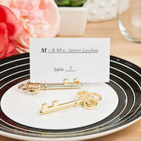 Gold Skeleton Key Place Card Holders 6PK