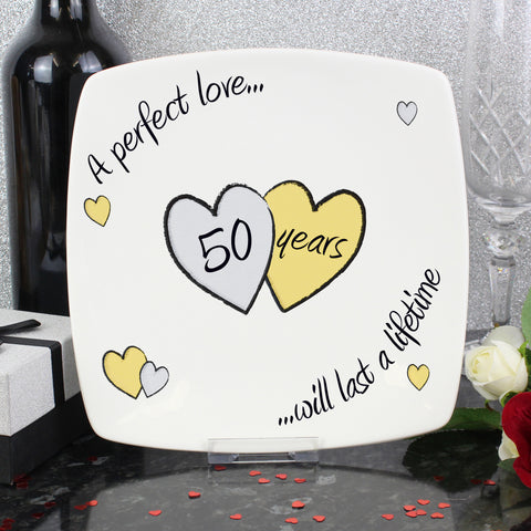 Perfect Love Golden Wedding Anniversary Plate Gift