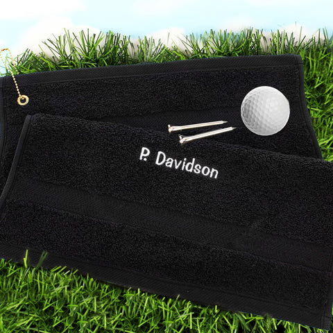 Personalised Golf Towel White Print Gift