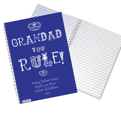 Personalised Grandad You Rule Notebook Gift