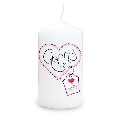 Personalised Granny Heart Stitch Candle Gift