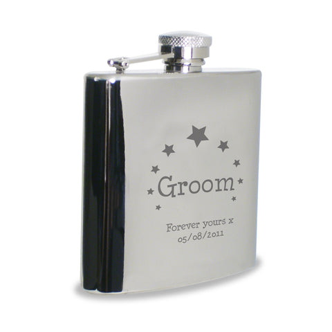 Personalised Stars Groom Hip Flask Gift