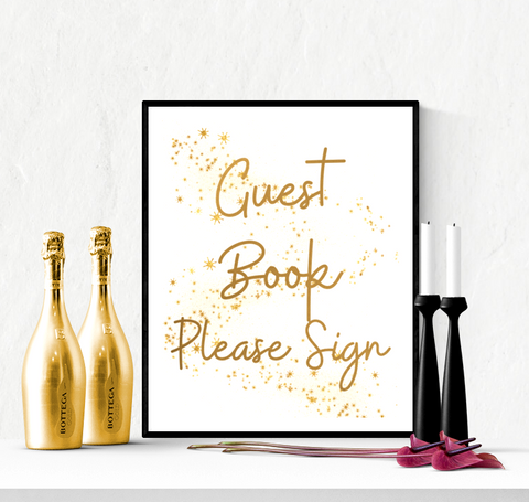 Guest Book Wedding Sign Printable Gold Stars