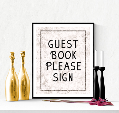 Guest Book Wedding Sign Printable Marble Design