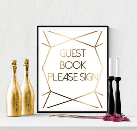 Guest Book Wedding Sign Printable Diamond Cut Gold
