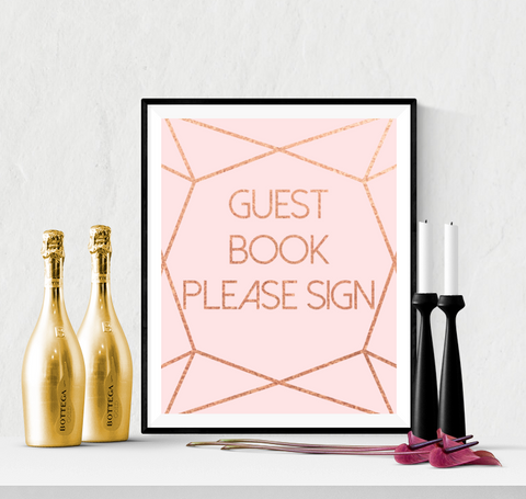 Guest Book Wedding Sign Printable Diamond Cut Rose Gold & Pink