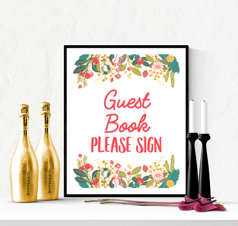 Guest Book Wedding Sign Printable Garden Flowers