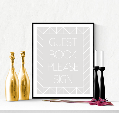Guest Book Wedding Sign Printable Grey