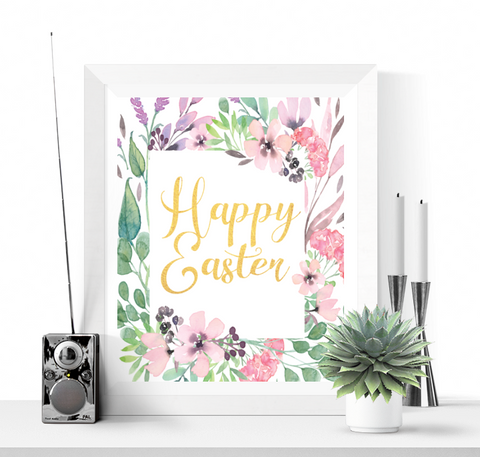 Happy Easter Floral Printable