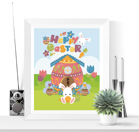 Happy Easter Printable Sign Decoration Easter Bunny Design