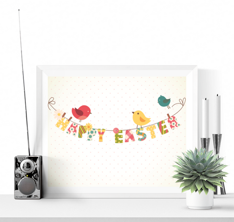 Happy Easter Printable Sign Decoration Sweet Birds Design