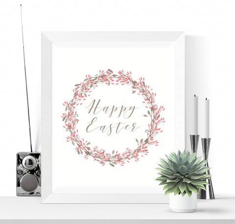 Happy Easter Printable Sign Decoration Pink Wreath