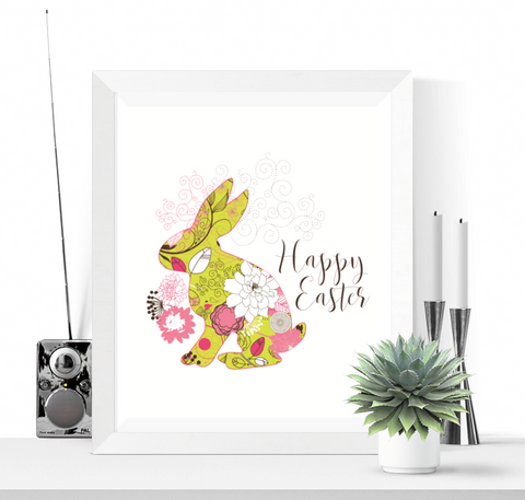 Happy Easter Printable Decoration Easter Bunny Design
