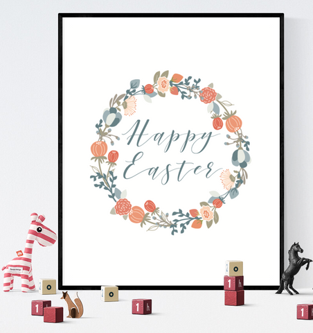 Happy Easter Printable Sign Decoration Floral Wreath