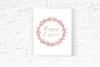 Happy Easter Printable Sign Decoration Pink Wreath uk