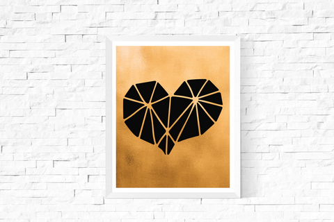 Geometric Heart Art Printable Black and Gold