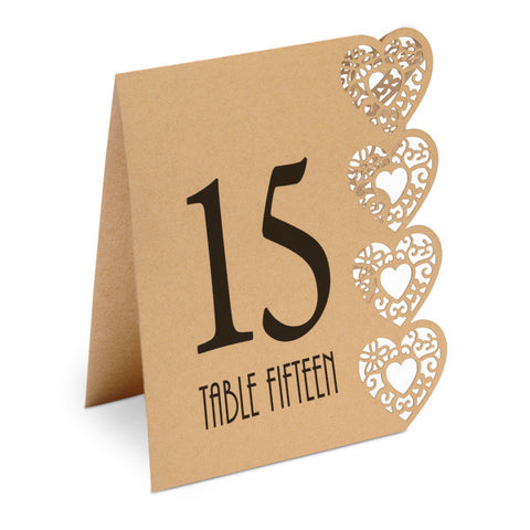 Heart Design Wedding Table Numbers