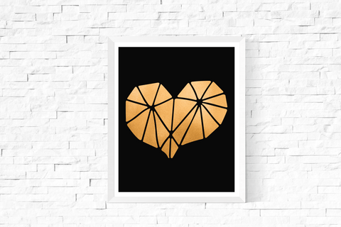 Geometric Heart Art Printable Gold and Black