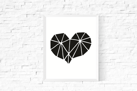 Geometric Heart Art Printable Black